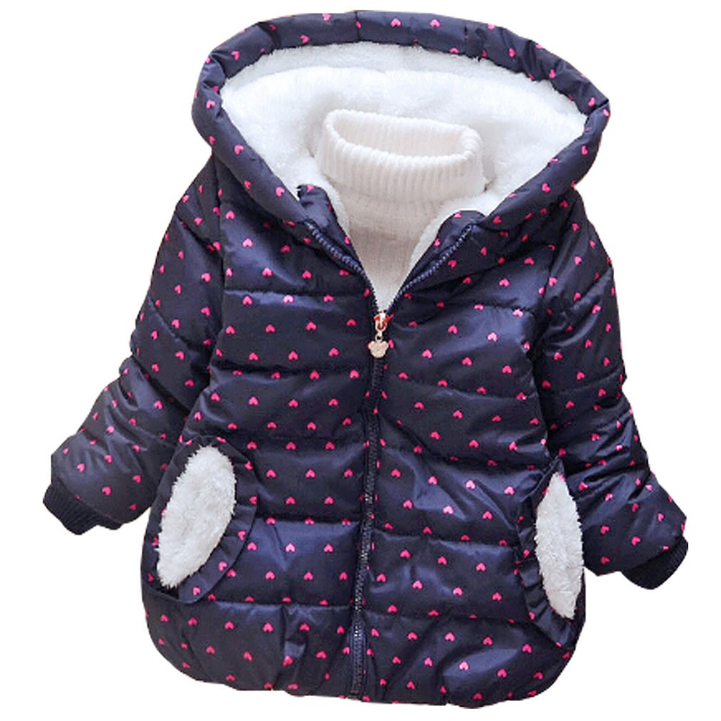 LUKYCILD Baby Girl Princess Coat Winter Hoodie Jacket Coat