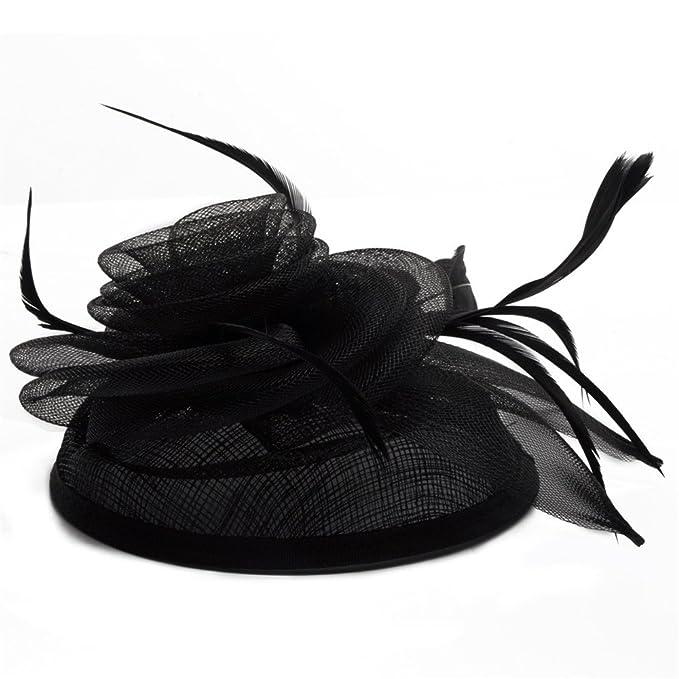 Sombrero de Lino de señora de la Moda británica AliExpress Sombrero de Tocado de Plumas Hechas a Mano Personalizada de Soporte (Color : Negro): Amazon.es: ...