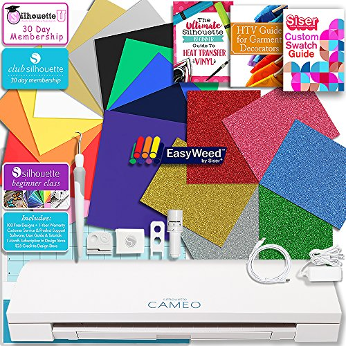 Silhouette Cameo 3 Bluetooth Heat Transfer T-Shirt Vinyl Bundle with Siser Vinyl, Swatch Book, Guides, Class, Membership and More by Silhouette