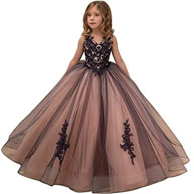 02b23eb2ec02f Flower Girl Dress Kids Lace Applique Pageant Ball Gown Prom Dresses
