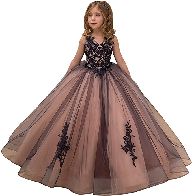 Flower Girl Dress Kids Lace Applique Pageant Ball Gown Prom Dresses