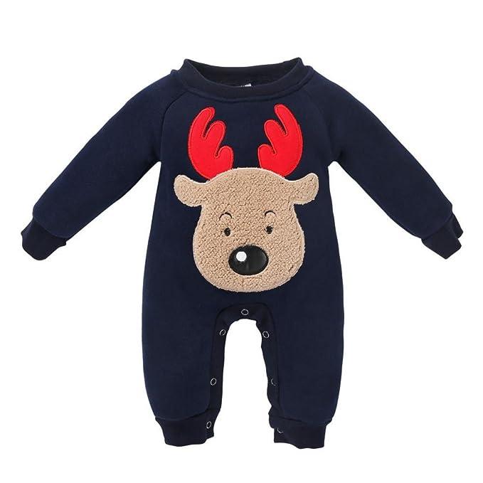 QUICKLYLY Navidad Peleles Pijamas Conjunto Bebé Niño Niña Recién Infantil Elk Largo Manga Mono Ropa (