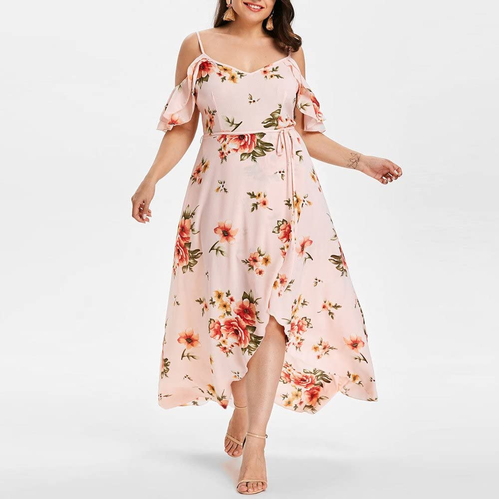 Womens Floral Sleeveless Strappy Maxi Dress Summer Casual Beach Dress Plus Size