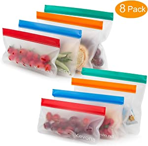 Reusable Sandwich Bags - Premium Extra Thick Leakproof Ziploc Reusable Food Storage Bags Snack Baggies,Ideal for Snack, Lunch, Sandwich, Fruit, Vegetable, Stationery, Travel(Set of 8)