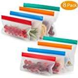 Reusable Sandwich Bags - Premium Extra Thick Leakproof Ziploc Reusable Food Storage Bags Snack Baggies,Ideal for Snack, Lunch, Sandwich, Fruit, Vegetable, Stationery, Travel(Set of 8) (Multi)