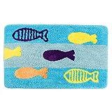 KEPSWET Simple Blue Splicing Cartoon Fish Bathroom Rug Mat Cozy Absorbent Toilet Bedroom Small Rug Soft Washable Non-slip Footmat Door Pad Home Area Rug Mat (2'0x3'0, Blue) Review