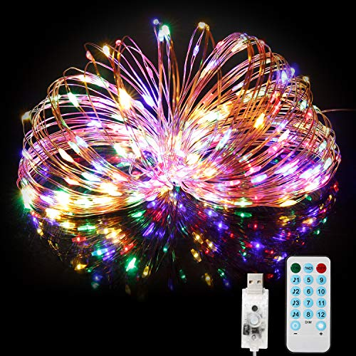 USB String Lights 66ft 200LEDs Plug in Fairy Lights with Remote Timer 4 Music Modes 8 Scene Modes,USB Led String Lights with Waterproof Copper Wire,Colored String Lights for Christmas Halloween Party (For Tree Lights Christmas Musical)