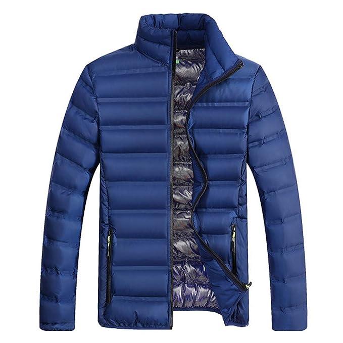Moda para Hombre Invierno Cremallera Collar de Soporte de Color Puro Abrigo de algodón Engrosado de Internet: Amazon.es: Ropa y accesorios