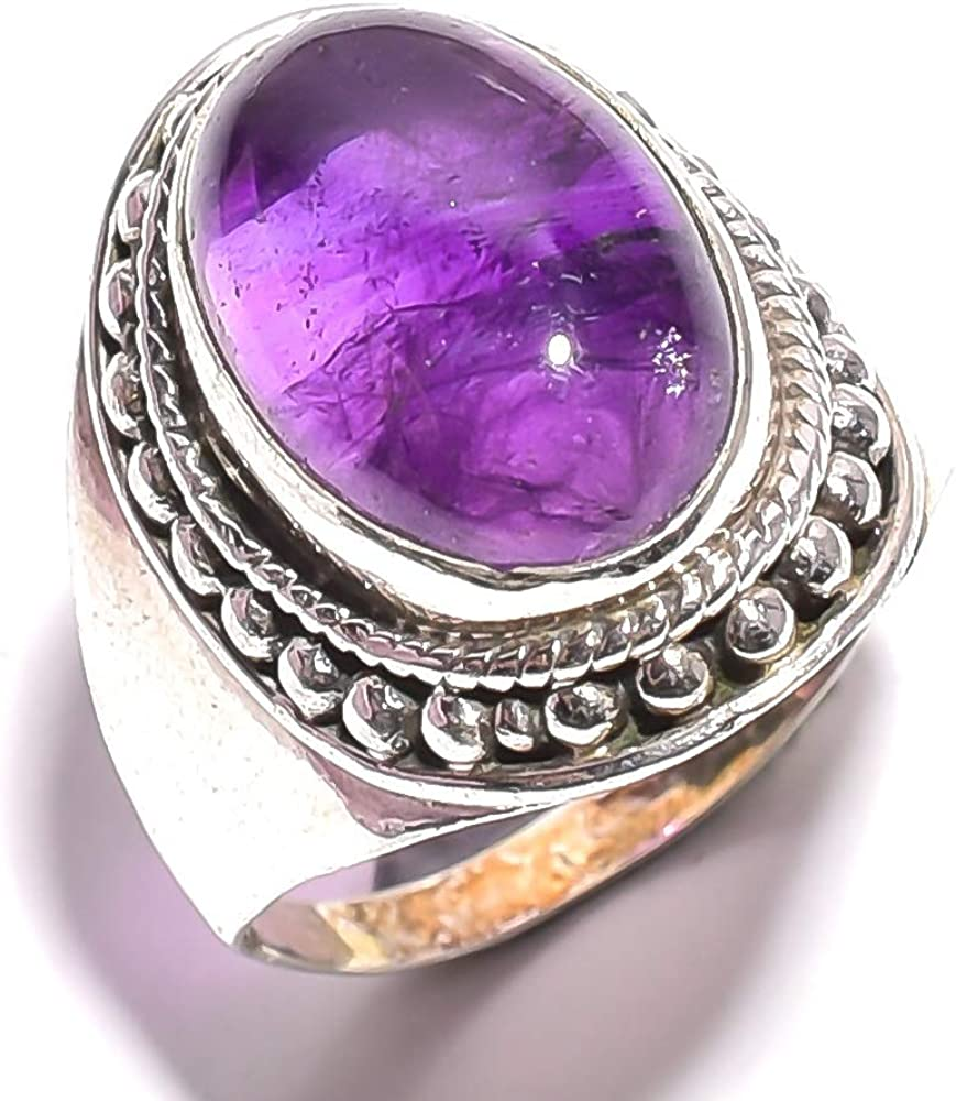 mughal gems & jewellery Anillo de Plata de Ley 925 Anillo de Plata Natural con Amatista púrpura Piedra Fina Joyería Fina Señoras (Tamaño 7.5 U.S)