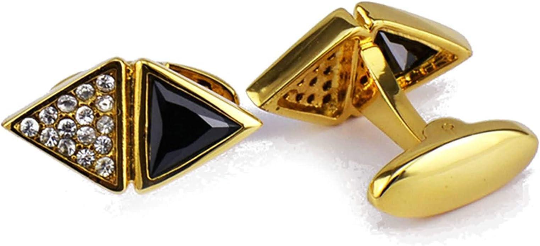 AnazoZ Gemelos para Hombre Cobre Gemelos para Boda Triángulo Circonita Blanca Negra Gemelo Camisa para Hombre Oro Negro: Amazon.es: Joyería