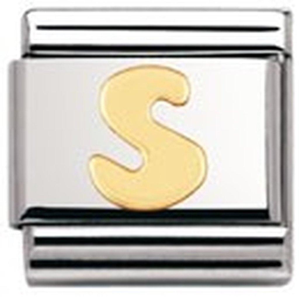 Lettre Maillon pour bracelet composable Mixte Initiale Acier inoxydable et Or jaune 18 cts Nomination 030101