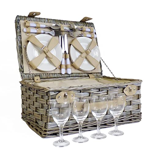 Deluxe mimbre 4 persona cesta de Picnic - perfecta idea de ...