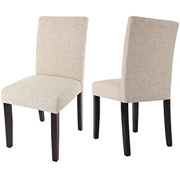 Amazoncom Merax Classic Fabric Dining Chairs with Solid Wood