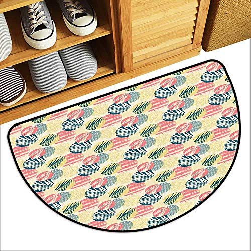 DILITECK Waterproof Door mat Palm Tree Exotic Leaves with Grunge Display and Big Spots Brazil Madagascar Non-Slip Door mat pad Machine can be Washed W30 xL18 Blue Coral Pale - Coral Mushroom Yellow