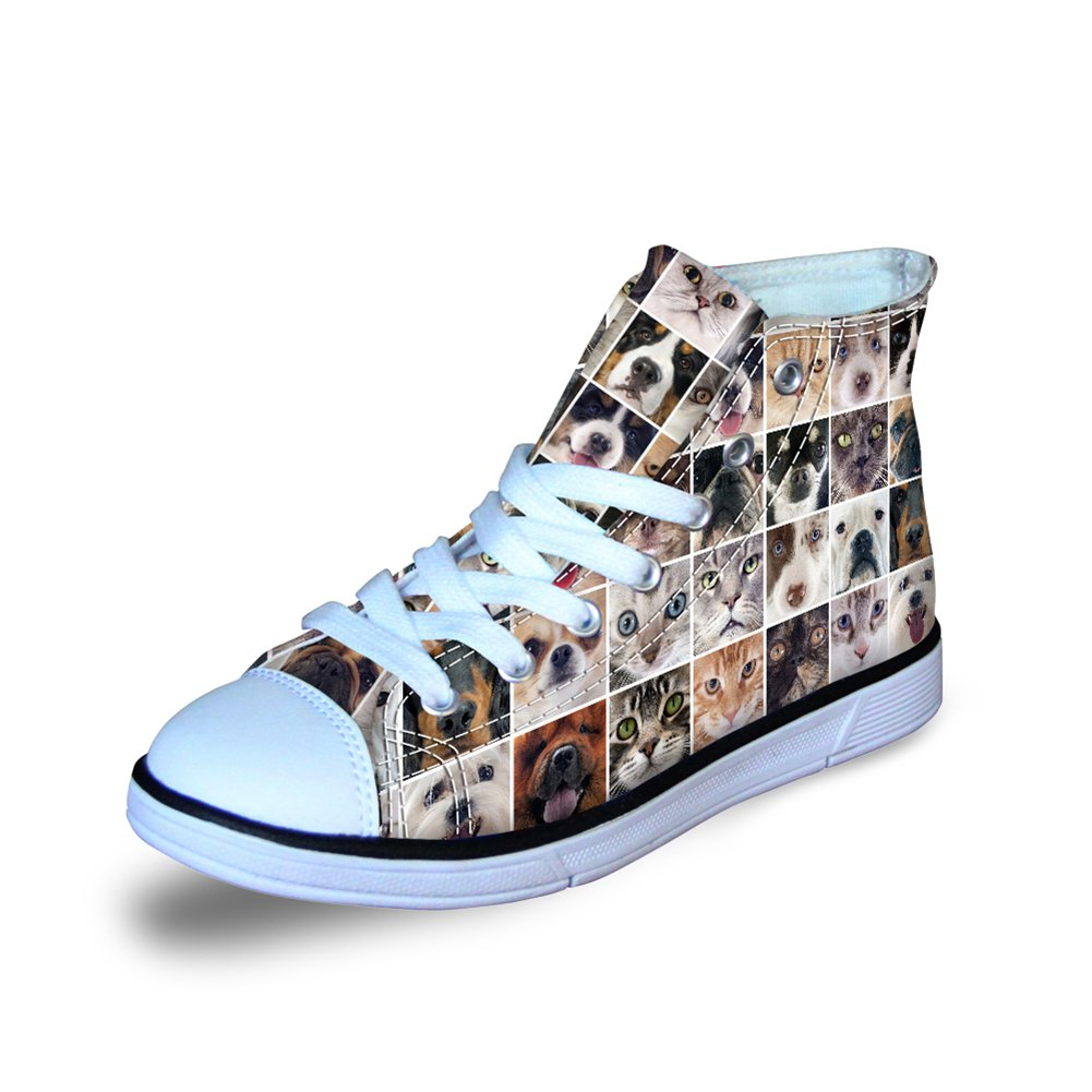 FOR U DESIGNS Cute Puppy Kitty Mosaic Pattern Canvas High Top Shoes Casual Lace Up Sneaker US 2