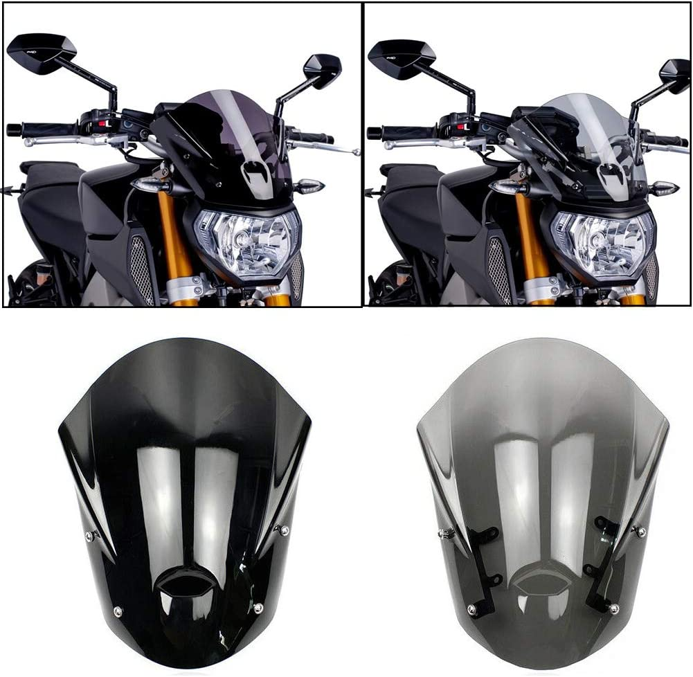 MT09 FZ09 Accessories Motorcycle ABS Windshield Windscreen Wind Shield Deflector Flyscreen Protector w//Mounting Bracket for 2013 2014 2015 2016 Yamaha MT-09 FZ-09 Smoke