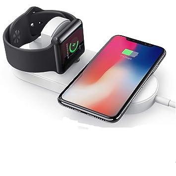 KEZAY Almohadilla de Carga inalámbrica 2 en 1, Smartphone y Cargador inalámbrico rápido iWatch para Apple Watch Series 2/3,iPhone XS MAX/XR/X/8 ...