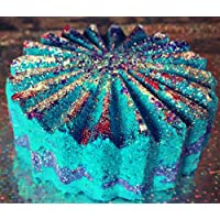 Organic Galaxy Bath Bomb Spaced Out - Glitter- Purple- Blue- Coconut oil-Sweet Almond- Shea Butter- Gift Wrapped 5.5oz