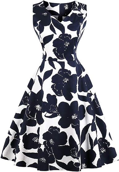 HWY Verano 80s Vestido Mujer algodón impresión Maxi Vestido hasta la Rodilla Falda Trajes para Traje de Playa Fiesta de Baile Falda Diaria Falda con Cremallera: Amazon.es: Ropa y accesorios