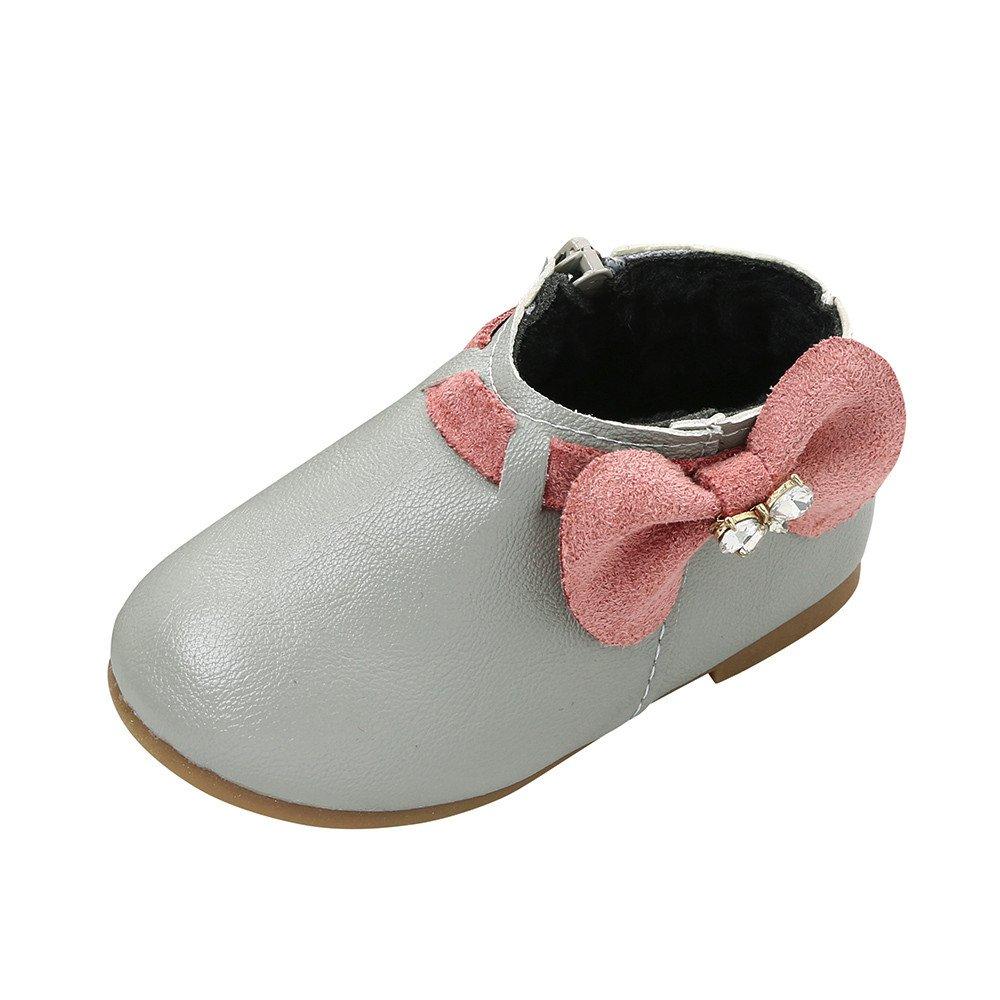 Chaussures Bébé Fille❤️Robemon Bottes Bébé Filles Enfants Mode Princesse Bowknot Sneaker Bottes Zipper Bébé Chaussures Décontractées Cadeau Bébé 1-6Ans