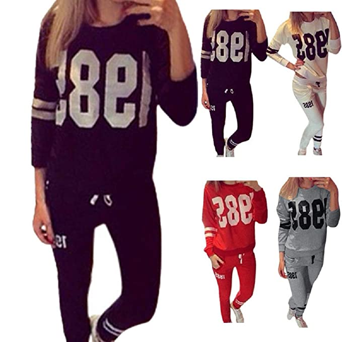 eab6c5618f Shakers123 Women 's Tracksuits Autumn Winter Sport Sweatshirt Top Sporting  Pants Hoodie Joggers Gym Sets