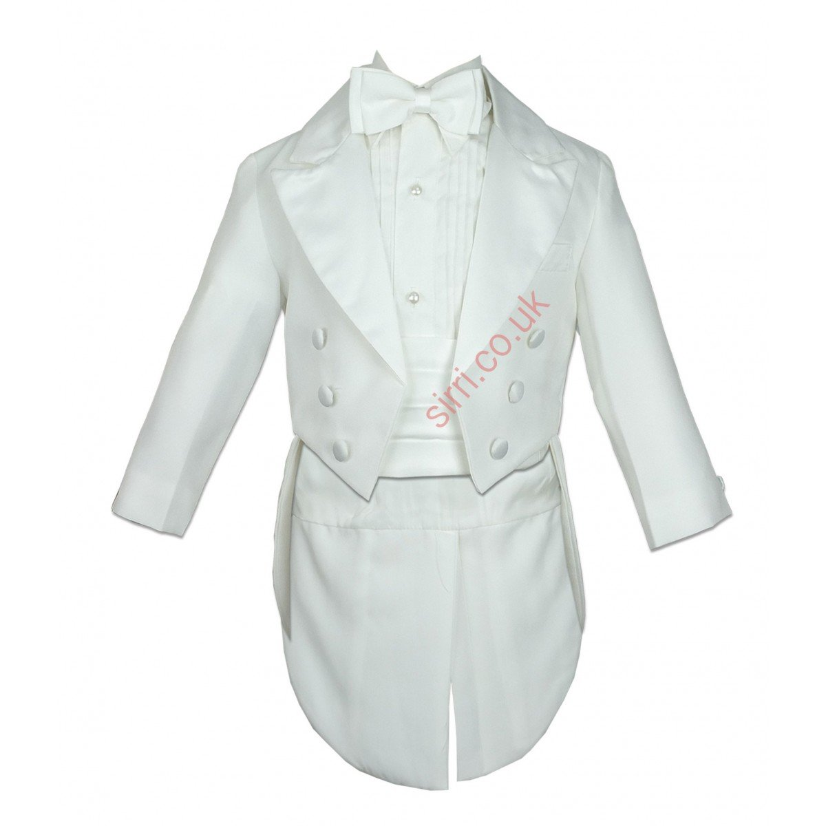 BABY BOYS IVORY TUXEDO CREAM TAIL SUIT 5 PIECES CHRISTENING BAPTISM OUTFIT