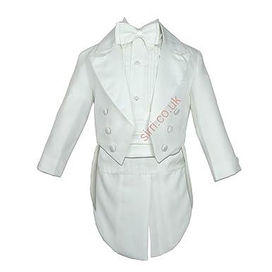 90a767e6ab7 Bébé Garçon Ivoire Tuxedo Crème Queue Costume 5 pièces baptême Tenue de  baptême - Blanc -