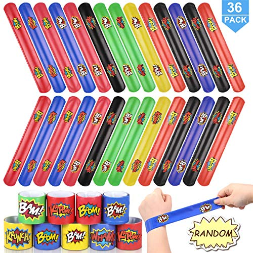 Cheap POKONBOY Slap Bracelets for Kids - 36 Pack Slap Bracelets Birthday Party Favors Supplies Carni...