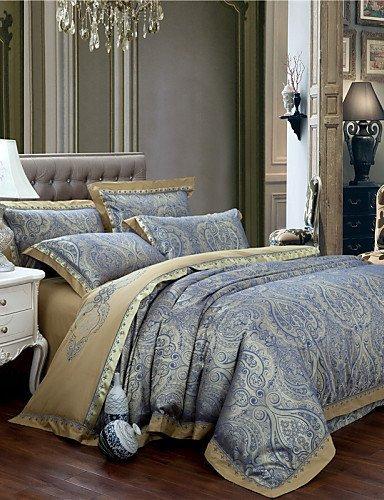 ZQファッションパーソナリティスタイルファッションセット、ノーブルエレガントな羽毛布団贈答シルク寝具高級寝具ホームTextiles 4点クイーンキングサイズ キング 8096525890198 B01GLBJDTK  キング