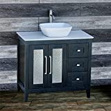 "solid wood 36"" Bathroom Vanity Cabinet white Tech Stone (Quartz) Vessel Sink Faucet MGS"