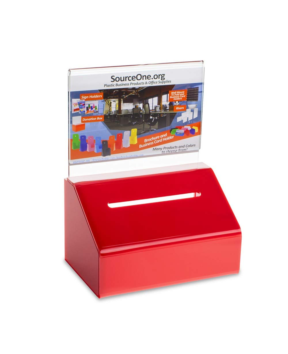 Source One Heavy Duty Donation/Ballot Box with Lock and Sign Holder (6 Pack, Red) by SOURCEONE.ORG