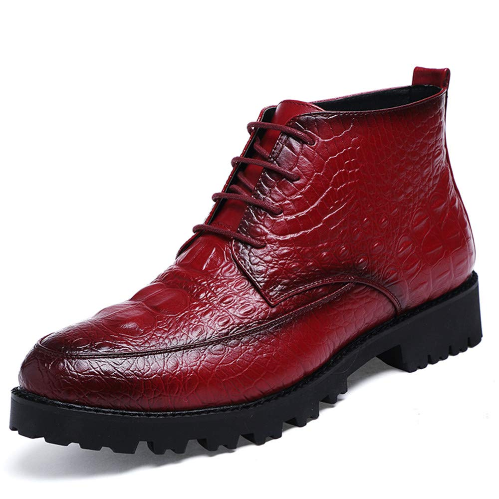 Hilotu Clearance Men's Ankle Boots Casual Fashion Avant-Garde Crocodile Tattoo Trend High-Top Formal Shoes (Color : Wine, Size : 8 D(M) US)