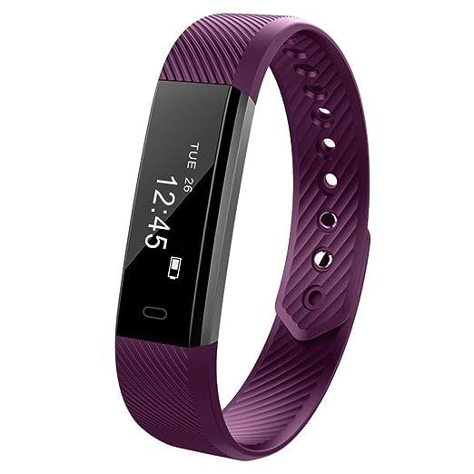 Reloj Inteligente Xinan Reloj Inteligente Bluetooth Pulsera Pulsera Podómetro Sport Fitness Tracker ID115 (❤️Morado): Amazon.es: Relojes