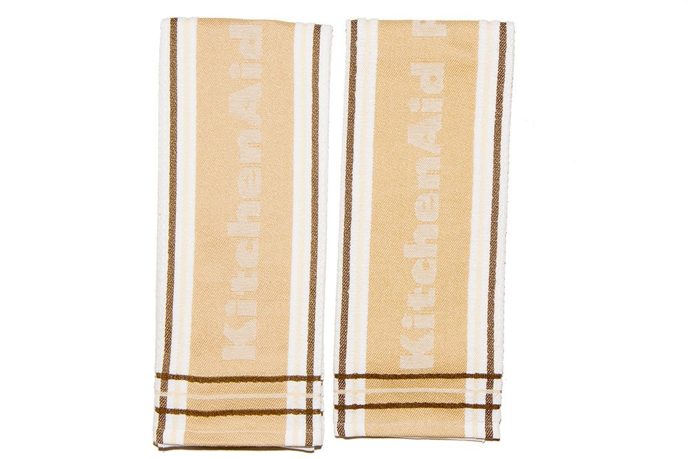 KitchenAid Kitchen Towel, Stripe, Natural Wood, 2 Pack