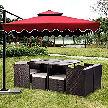 merax 9piece outdoor pe rattan wicker patio dining table set garden outdoor patio furniture set