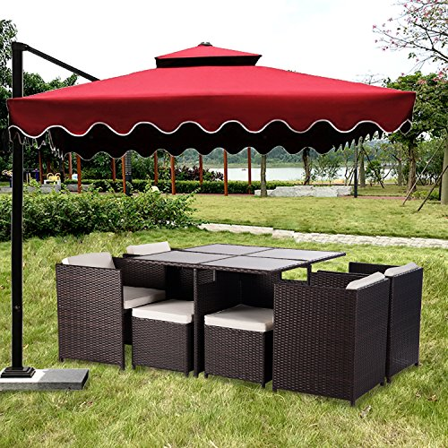 Merax 9 piece outdoor pe rattan wicker patio dining table for Outdoor furniture 9 piece