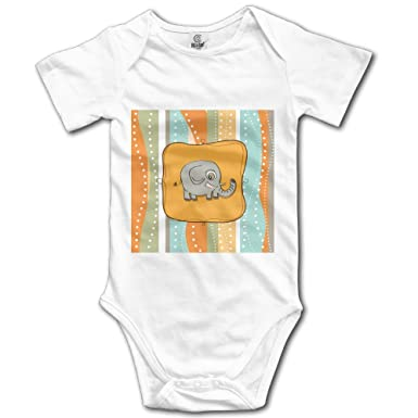 9dc85fdf3 SSNB Unisex Baby Onesies Custom Baby Elephant Short-Sleeve Bodysuit 100%  Cotton Boys Girls