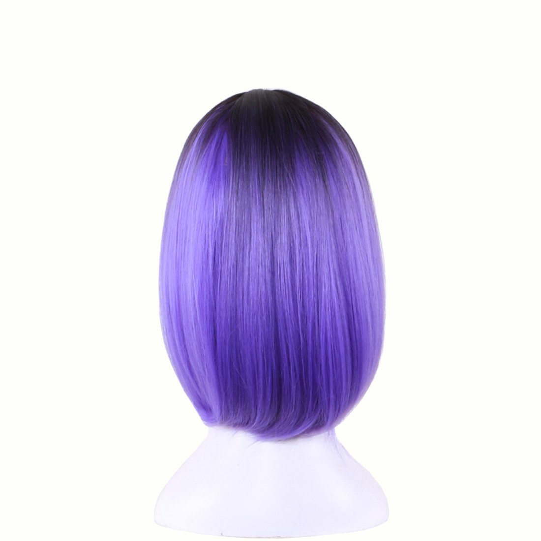 Wigood 12 Ombre Color Bob Female Wig Short Straight Purple Hair with Dark Roots Cosplay Wig(Ombre Purple)