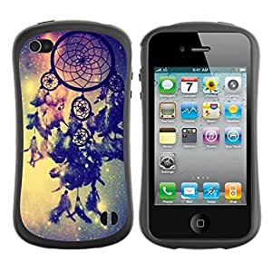 "Hypernova Slim Fit Dual Barniz Protector Caso Case Funda Para Apple iPhone 4 / iPhone 4S [Catcher Azul Espacio Vía Láctea india""]"