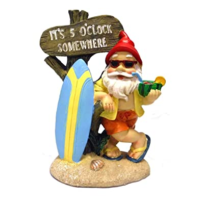 5:00 Somewhere Tropical Party Gnome Garden Statue : Garden & Outdoor