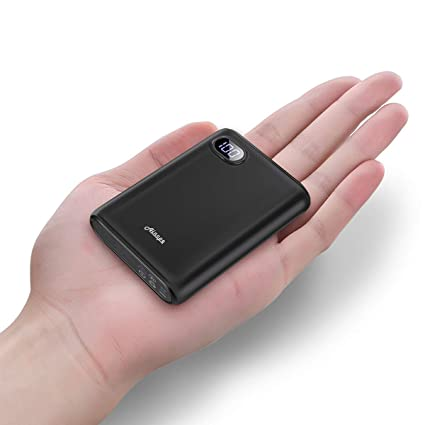 Ainope 10000m Ah Portable Charger,(Smallest) (Lcd Display) (Powerful) External Battery Pack/Battery Charger/Phone Backup Power Bank With Dual Usb Output(3.1 A),Perfect Carry For Travel Black by Ainope