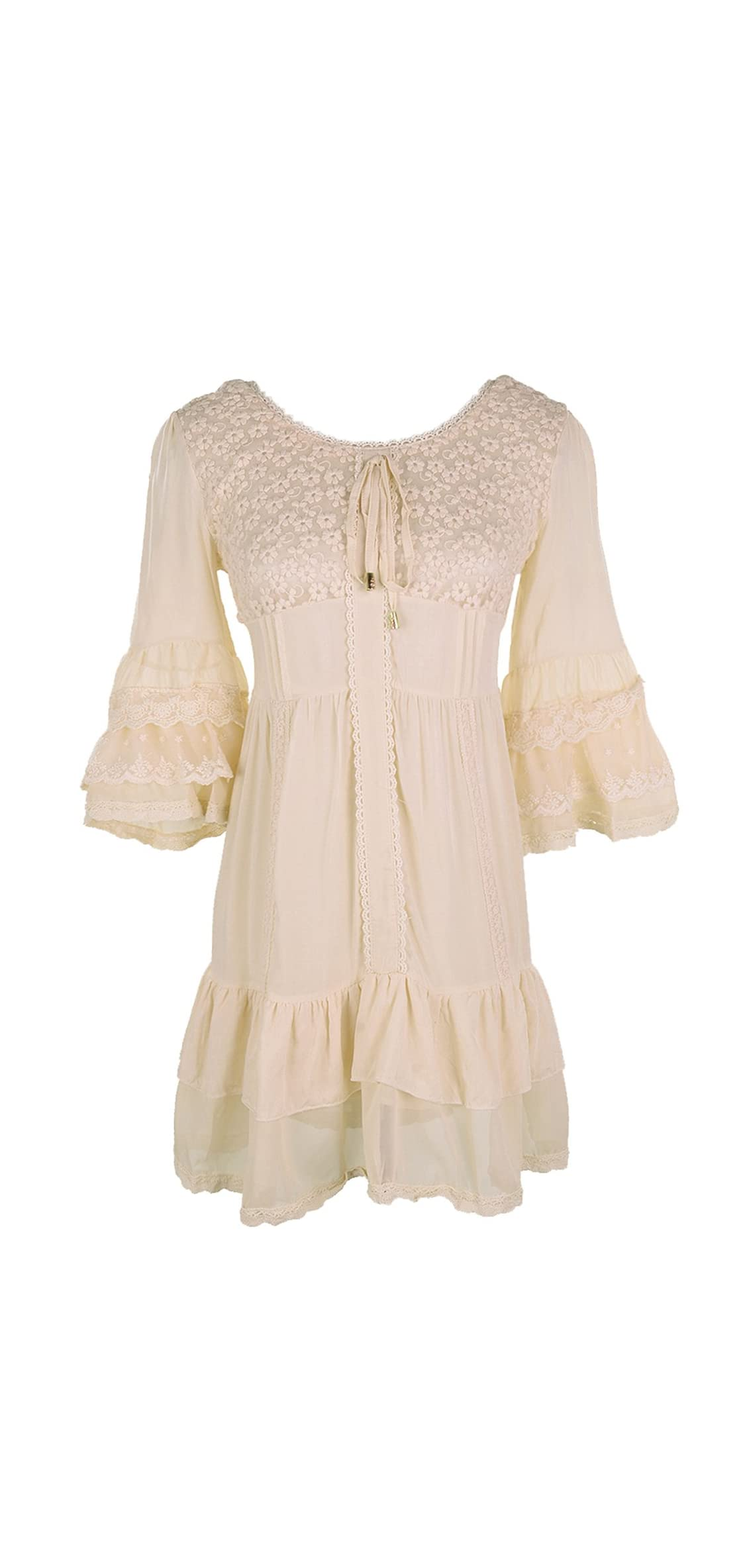 Womens Boho Peasant Floral Lace Ruffle Hem Bell Sleeve