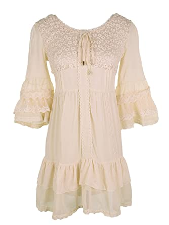 b751d8d7e1e Anna-Kaci Womens Boho Peasant Floral Lace Ruffle Hem Bell Sleeve Mini Dress
