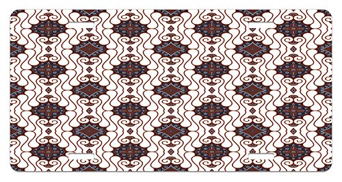 Batik License Plate by Lunarable, Retro Bohemian Traditional Indonesian Insp?red Spouted Liquid Flowing Colored Art, High Gloss Aluminum Novelty Plate, 5.88 L X 11.88 W Inches, Brown Beige (Plate Insp)