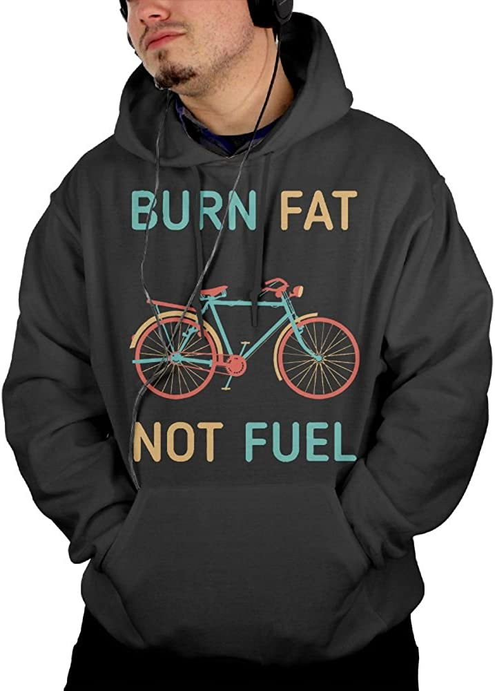 Obachi Burn Fat Not Fuel Cycling Mens Cotton Long Sleeve Pullover Pocket Hooded Sweatshirt Black
