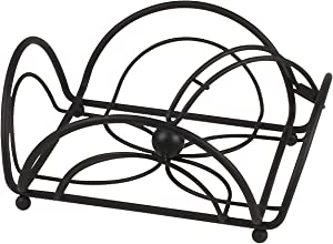 Spectrum Diversified Flower Flat Holder With Weighted Arm, Kitchen Napkin Dispenser, Sturdy Steel Kitchen & Dining Room Décor, Black