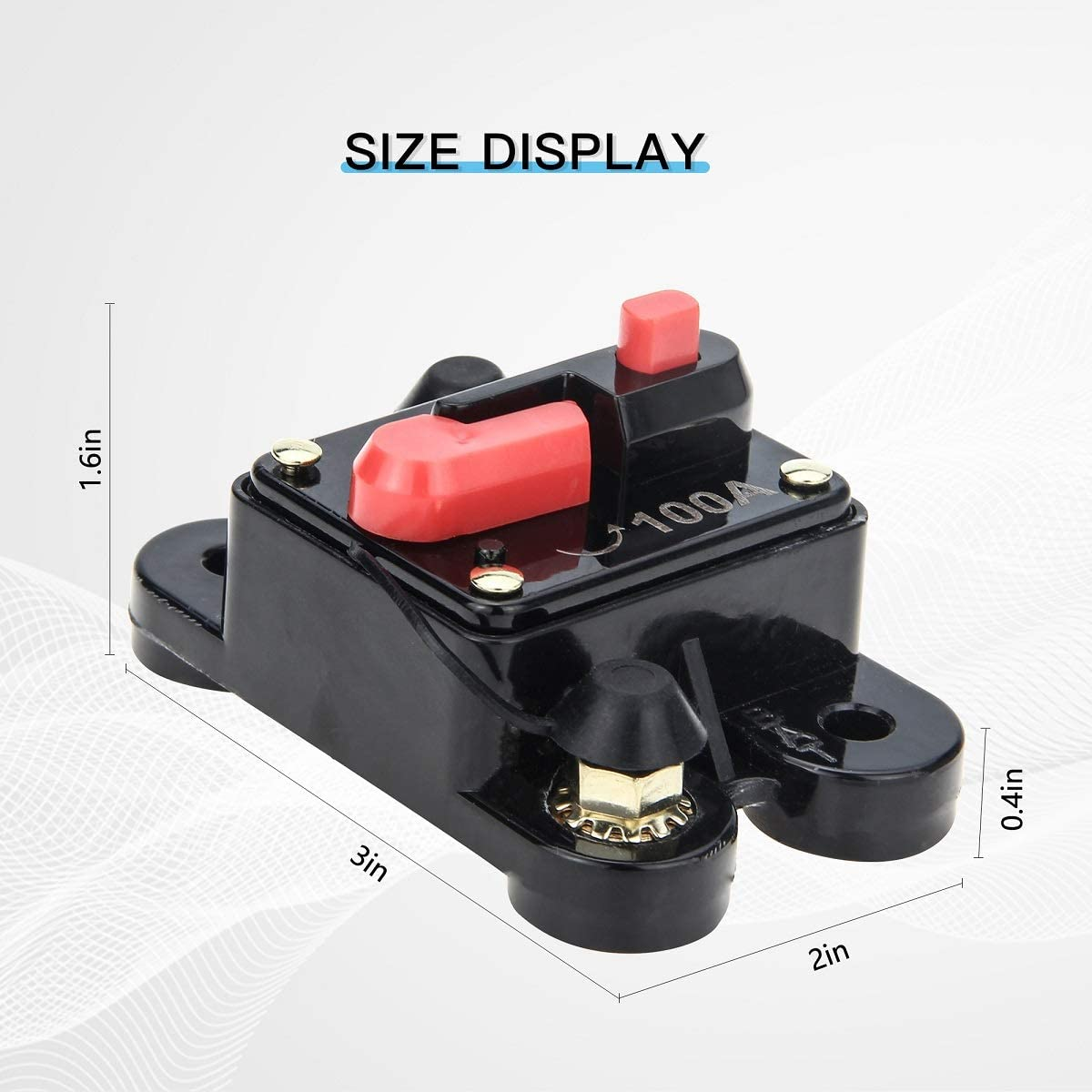 Ancable Waterproof Audio Inline Fuse Holder with Manual Reset 12V-48V DC for Car Audio Home Solar System 100 Amp Circuit Breaker Marine Boat Trolling Motor Truck