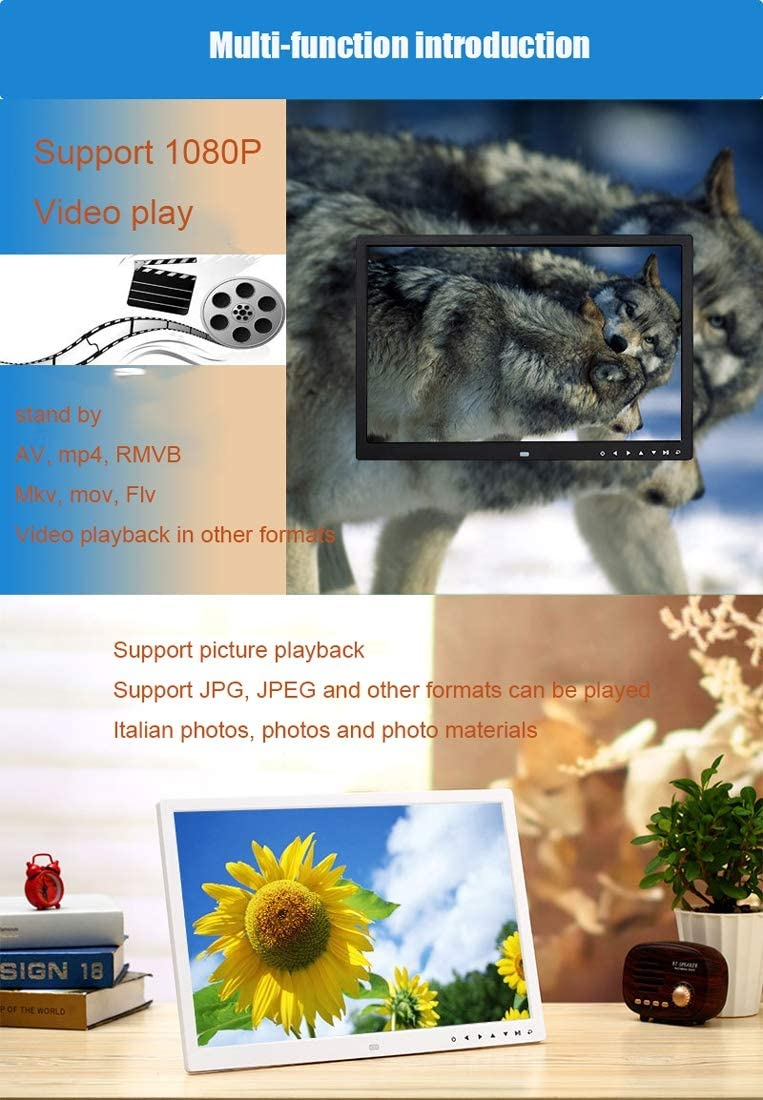 WQYRLJ 17-Inch Touch Button Digital Photo Frame HDMI HD 1440/×900 Wall Mount Display Digital Picture Frames Image//Music//Video Auto Loop Player with USB and SD Card Slots and Remote Control,Black