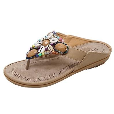 8ec3ef26332ca4 Insun Women s Apricot Bohemian Flip Flop Sandals ...