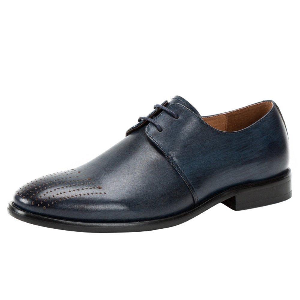 LYZGF Zapatos De Cuero De Encaje Casuales Británicos Tallados A Mano Retro De Bullock Hechos A Mano De Los Hombres 43 EU Blue